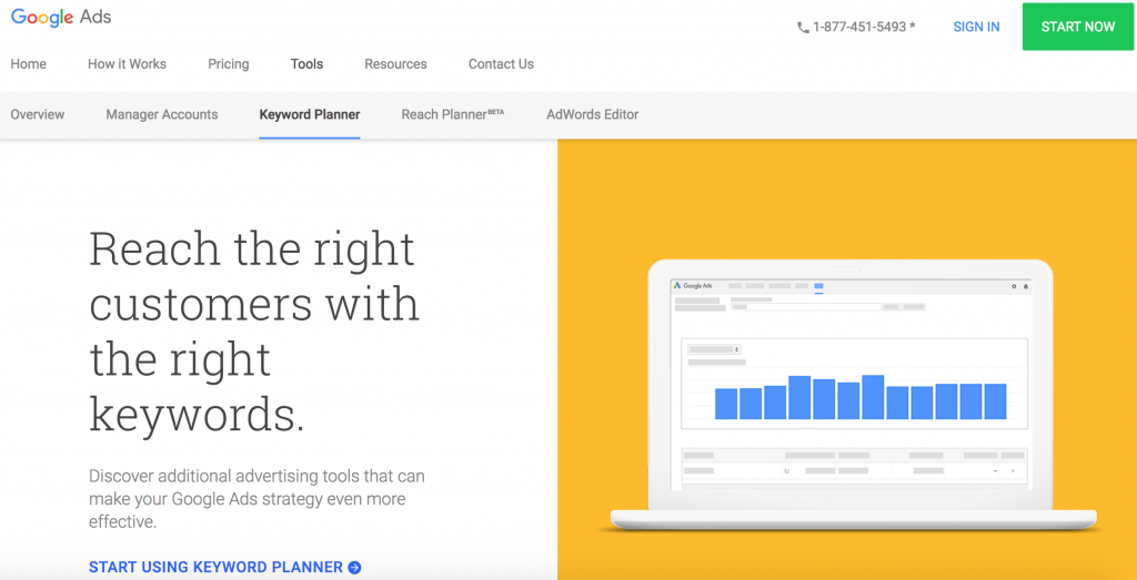 google keyword planner for product research