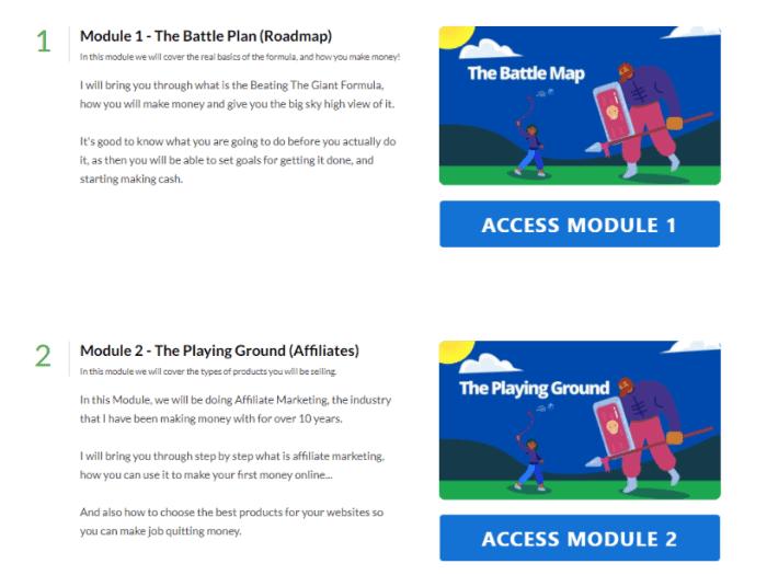 affiliate marketing module screen beating the giant