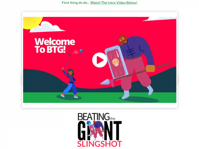 beating the giant welcome screen